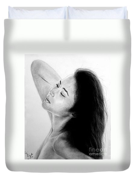 Duvet Cover featuring the mixed media Long Haired Asian Beauty by Jim Fitzpatrick