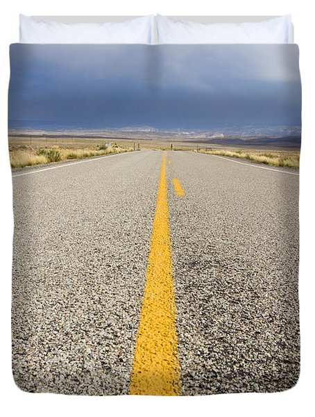 Long Lonely Road Duvet Cover by Adam Romanowicz