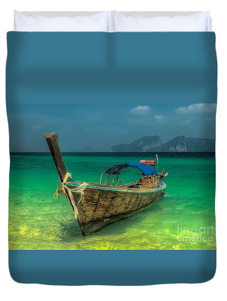 Duvet Cover featuring the photograph Longboat by Adrian Evans