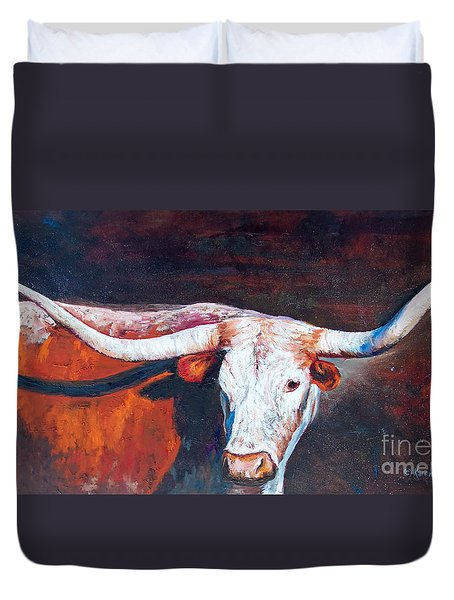 Duvet Cover featuring the painting Longhorn Legacy by Karen Kennedy Chatham