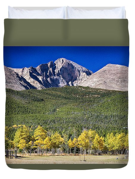 Longs Peak A Colorado Playground Duvet Cover