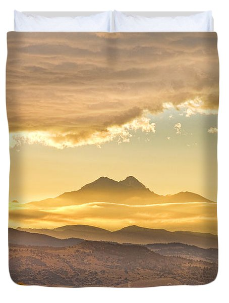 Longs Peak Autumn Sunset Duvet Cover