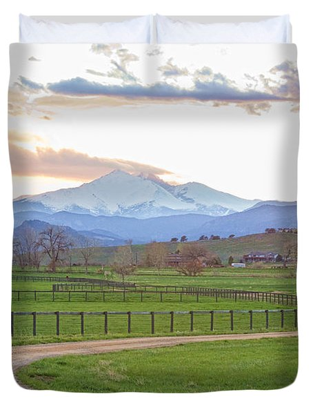 Longs Peak Springtime Sunset View  Duvet Cover by James BO  Insogna