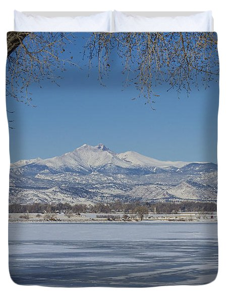 Longs Peaks Winter Landscape View Duvet Cover by James BO  Insogna