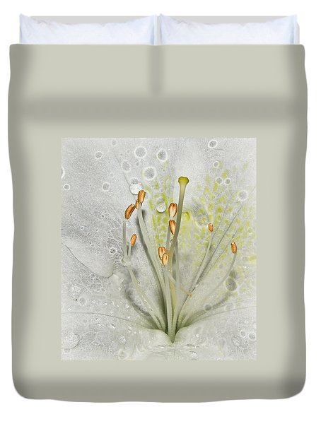 Look Inside A White Azalea Duvet Cover