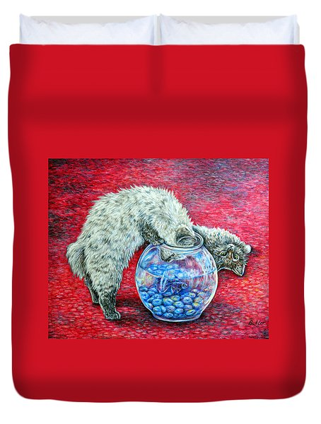 Lookin For Some Betta Kissin Duvet Cover by Gail Butler