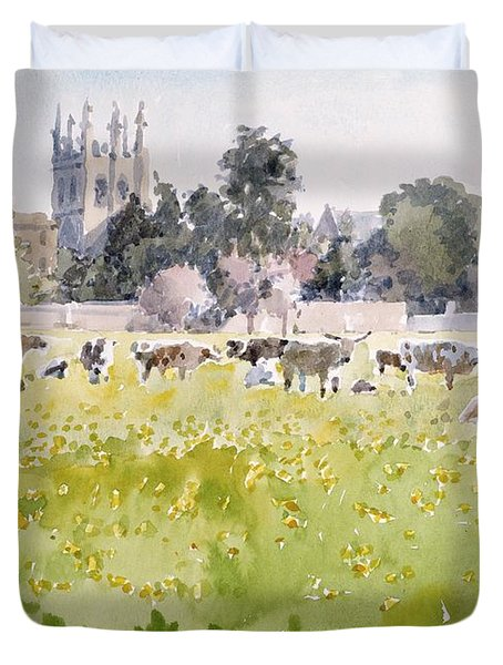 Looking Across Christ Church Meadows Duvet Cover by Lucy Willis
