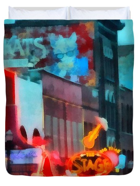Looking Down Broadway In Nashville Tennessee Duvet Cover by Dan Sproul
