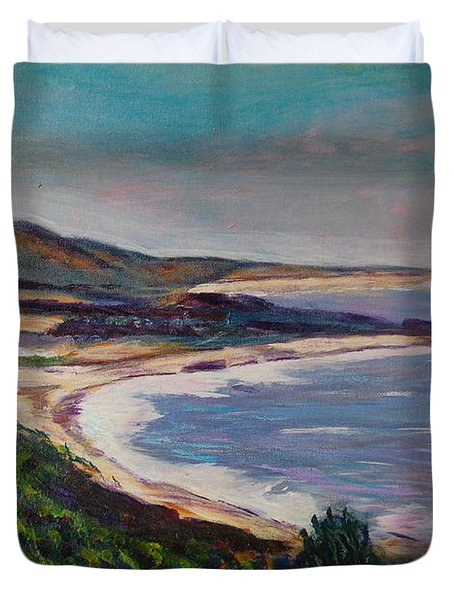 Looking Down On Half Moon Bay Duvet Cover by Carolyn Donnell