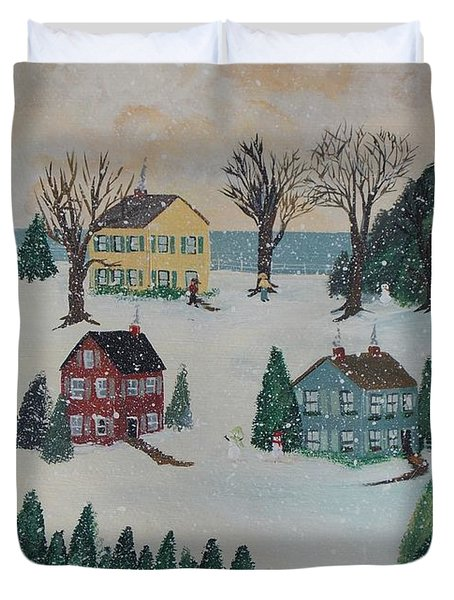 Duvet Cover featuring the painting Looking For A Tree by Virginia Coyle