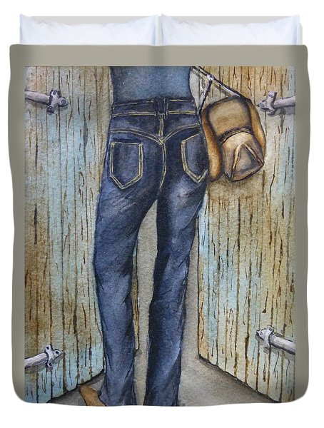 Duvet Cover featuring the painting Blue Jeans A Hat And Looking Good by Kelly Mills