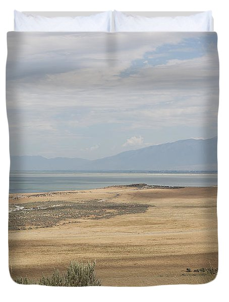 Looking North From Antelope Island Duvet Cover by Belinda Greb