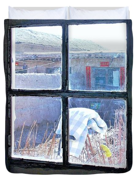 Duvet Cover featuring the photograph Looking Out The Kitchen Door In February by Ethna Gillespie