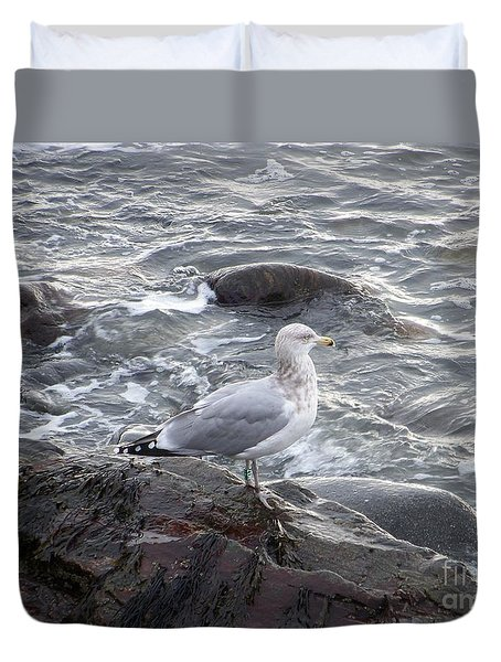 Duvet Cover featuring the photograph Looking Out To Sea by Eunice Miller