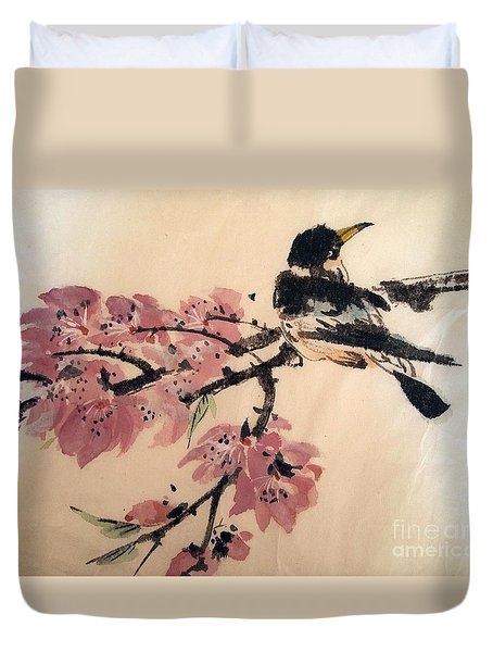 Duvet Cover featuring the painting Looking Pretty by Nancy Kane Chapman