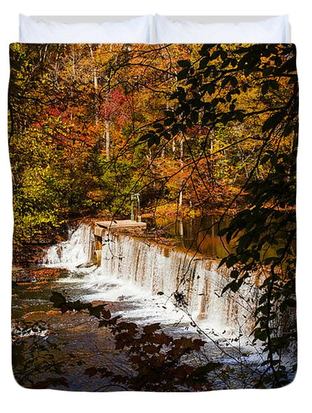 Looking Through Autumn Trees On To Waterfalls Fine Art Prints As Gift For The Holidays  Duvet Cover by Jerry Cowart