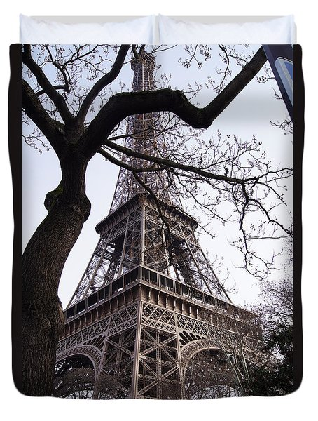 Looking Up To Eiffel  Duvet Cover by Debi Demetrion