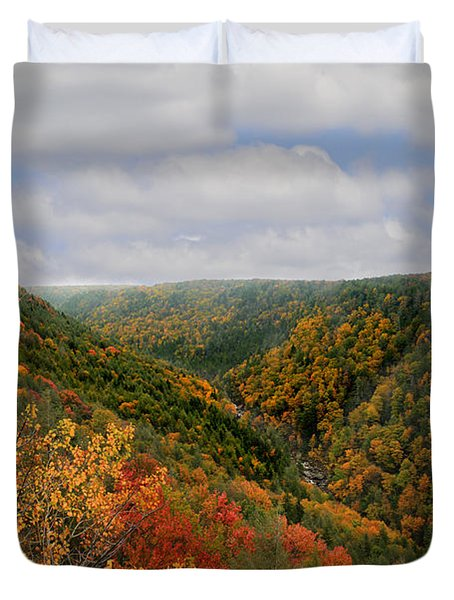 Looking Upriver At Blackwater River Gorge In Fall From Pendleton Point Duvet Cover