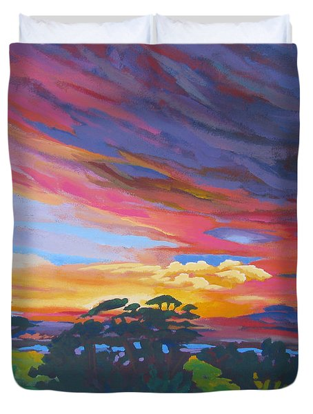 Looking West From Amador Hills Duvet Cover by Vanessa Hadady BFA MA