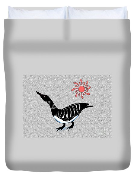 Loon And Sun Duvet Cover