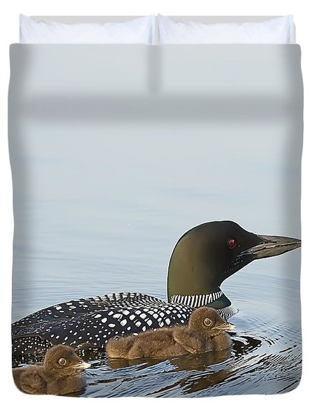 Loon Chicks Cruising With Mom Duvet Cover