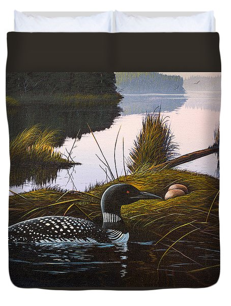 Duvet Cover featuring the painting Loon Lake by Richard Faulkner