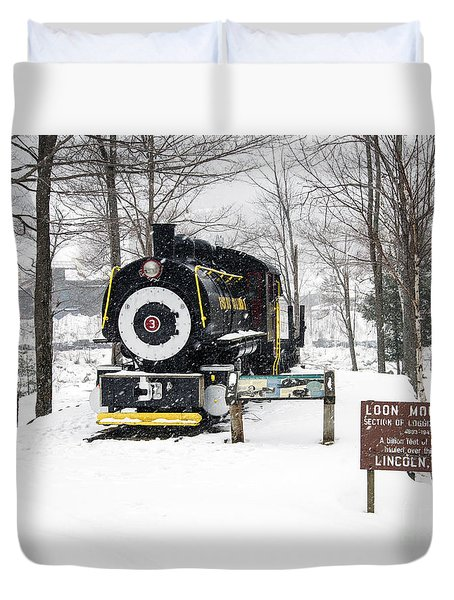 Loon Mountain Train Duvet Cover