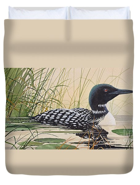Loon's Tranquil Shore Duvet Cover