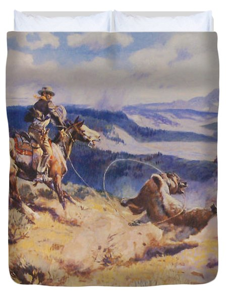 Loops And Swift Horses Are Surer Then Lead Duvet Cover by Charles Russell