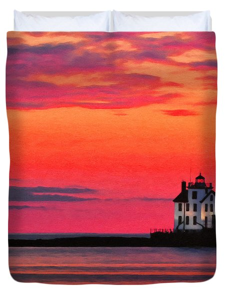 Lorain Lighthouse At Sunset Duvet Cover by Michael Pickett