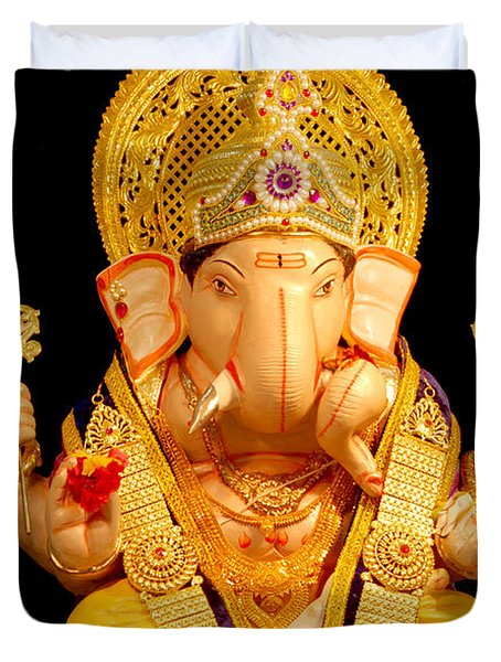 Lord Ganesha Duvet Cover by Kiran Joshi