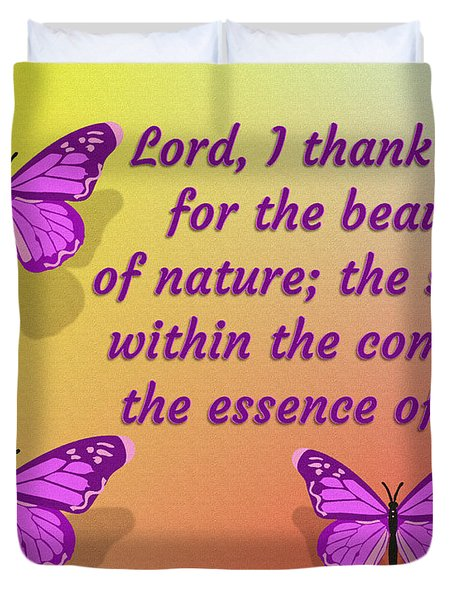 Lord I Thank You For The Beauty Of Nature Duvet Cover