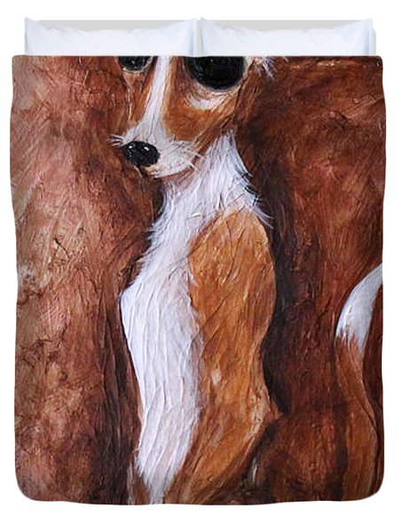 Duvet Cover featuring the painting Loretta Chihuahua Big Eyes  by Patricia Lintner