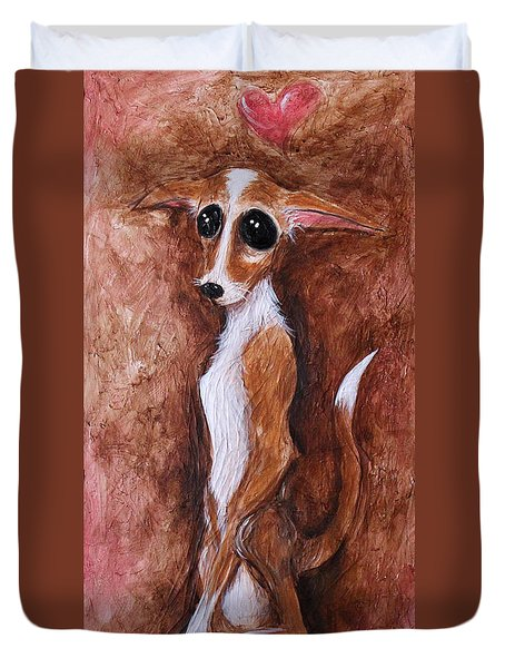 Loretta Chihuahua Big Eyes  Duvet Cover by Patricia Lintner