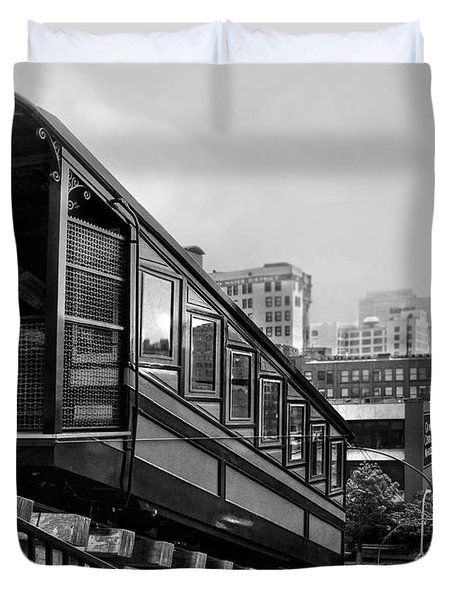Los Angeles Angels Flight.bw Duvet Cover