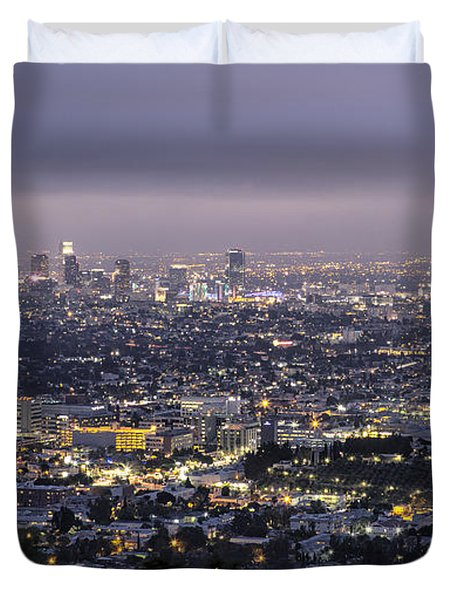Los Angeles At Night From The Griffith Park Observatory Duvet Cover