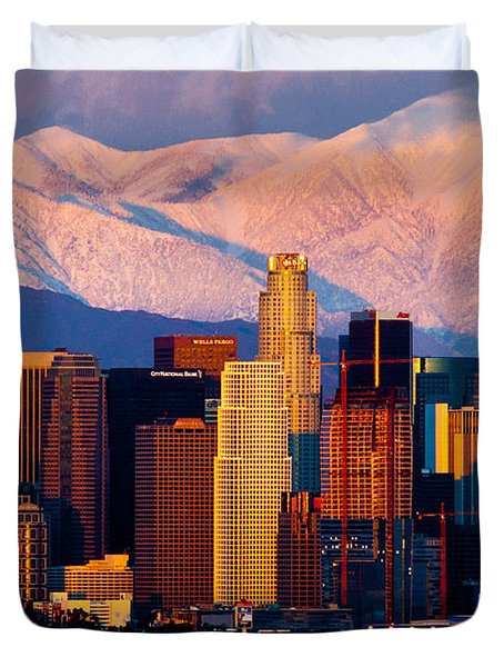 Los Angeles In Winter Duvet Cover