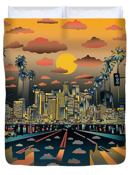 Los Angeles Skyline Abstract 2 Duvet Cover by Bekim Art