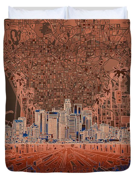 Los Angeles Skyline Abstract 7 Duvet Cover