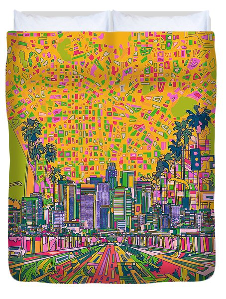 Los Angeles Skyline Abstract Duvet Cover
