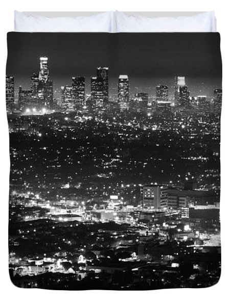 Los Angeles Skyline At Night Monochrome Duvet Cover by Bob Christopher