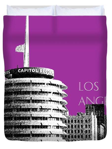 Los Angeles Skyline Capitol Records - Plum Duvet Cover