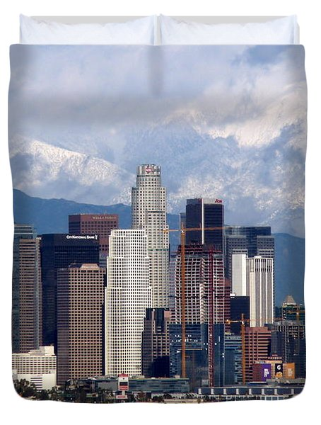 Los Angeles Skyline With Snowy Mountains Duvet Cover