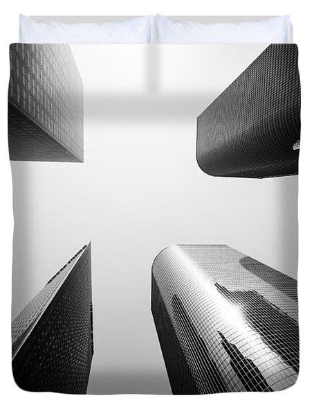 Los Angeles Skyscraper Buildings In Black And White Duvet Cover by Paul Velgos
