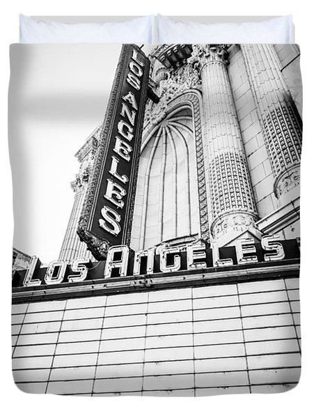Los Angeles Theatre Sign In Black And White Duvet Cover by Paul Velgos