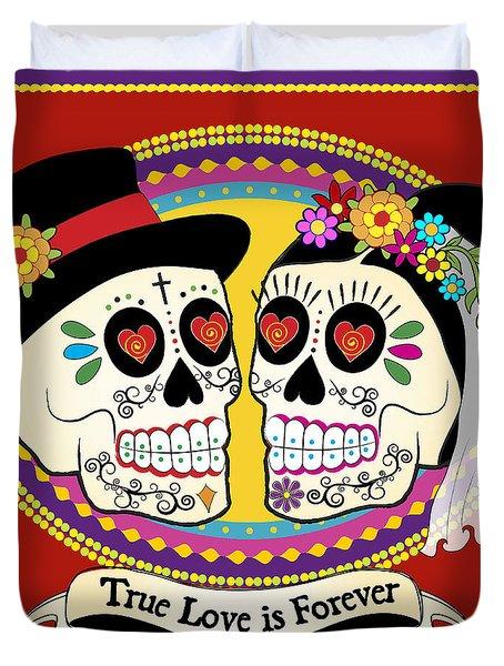 Los Novios Sugar Skulls Duvet Cover