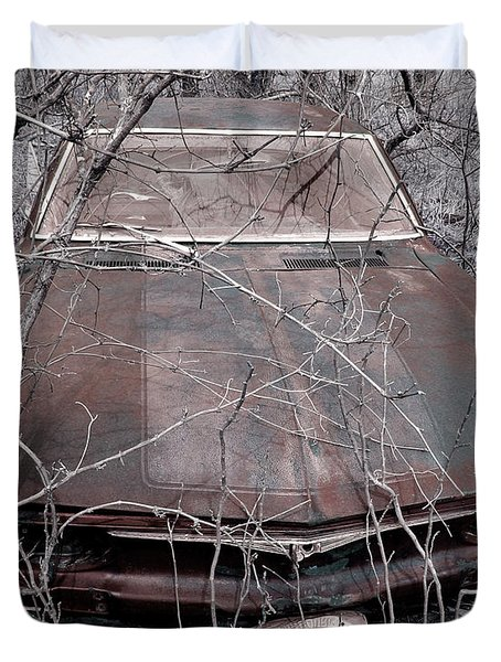 Duvet Cover featuring the photograph Lost Corvair Adjustment  by Christopher McKenzie
