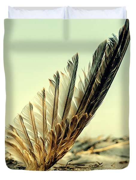 Lost Feather At The Beach Duvet Cover by Mike Santis