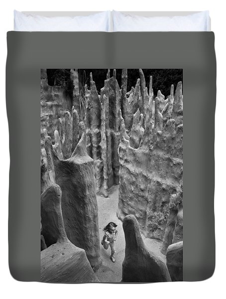 Lost In A Black And White Dream Duvet Cover
