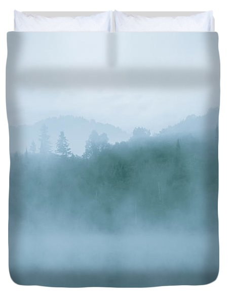 Lost In Fog Over Lake Duvet Cover by Jola Martysz
